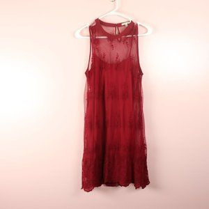 Bleuh Ciel Red Lace Dress with Illusion Top